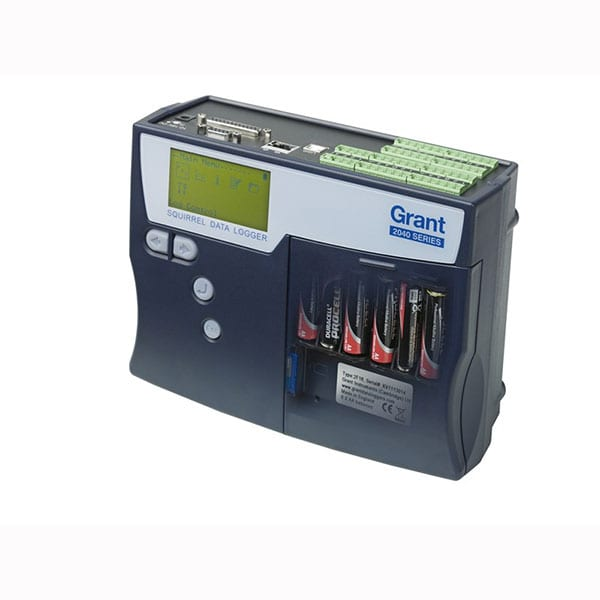Grant SQ2040 Series data logger showing battery installation