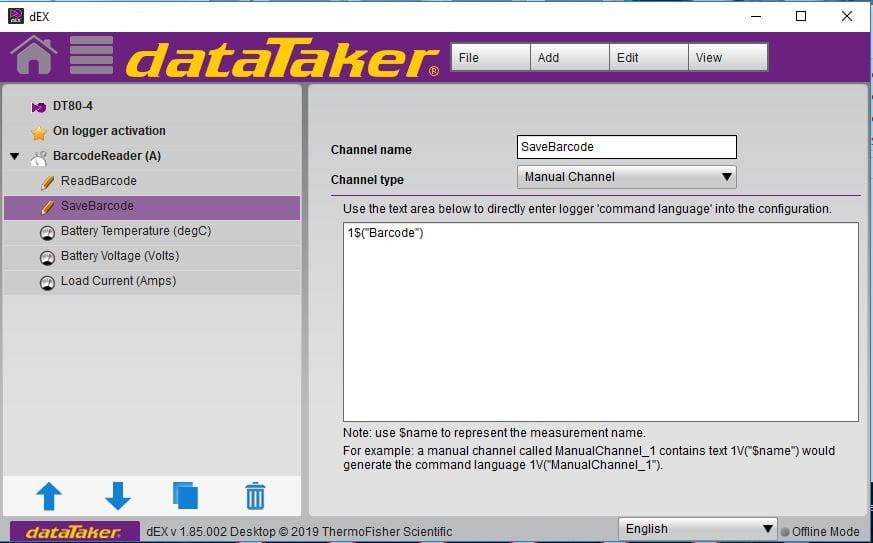 barcode scanner DAQ Software view